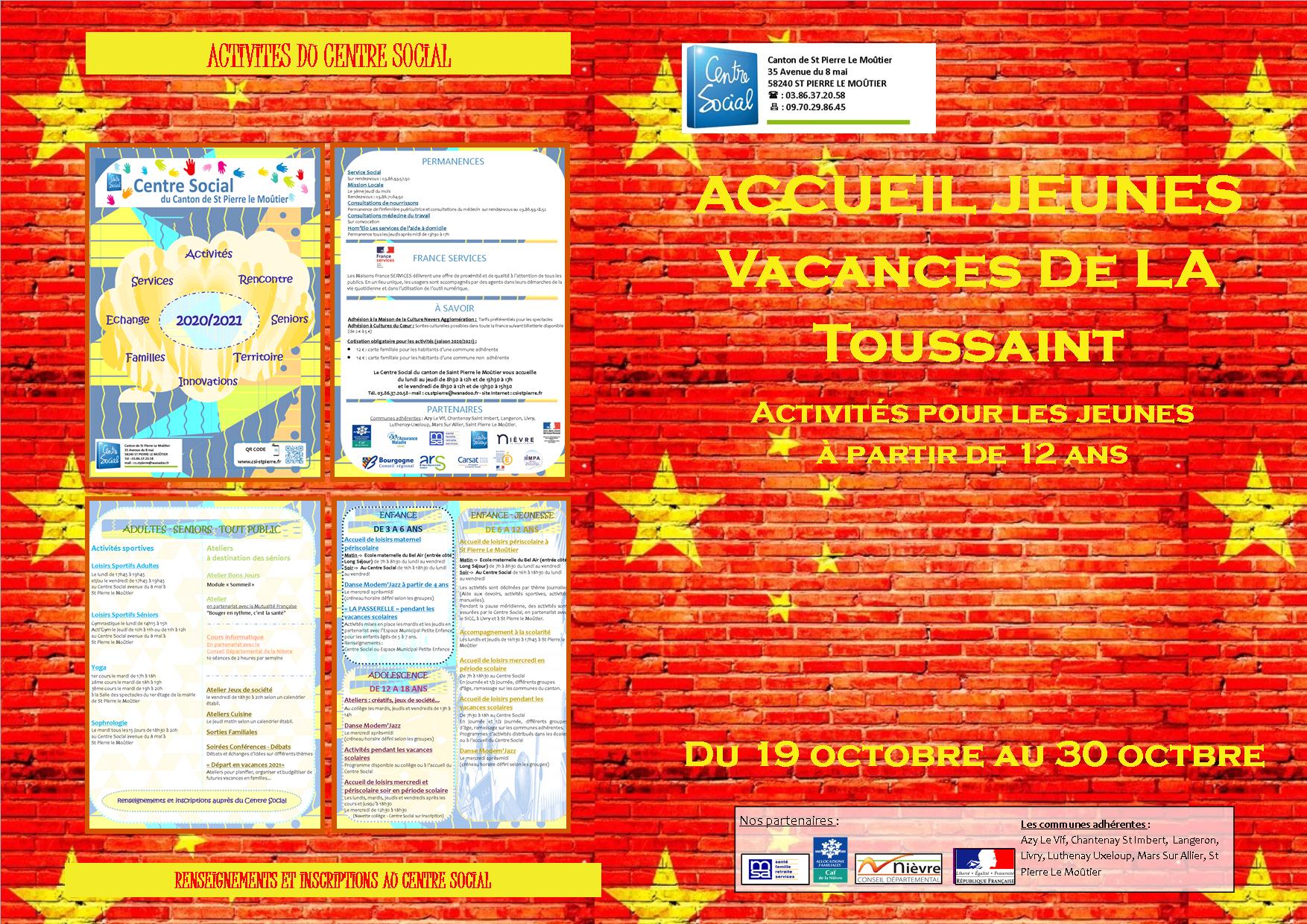 Inscriptions Accueil Jeunes – Vacances de la Toussaint   Centre